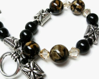 Agate Bracelet black bead bracelets womens jewelry gift for her Birthday or special occasion handmade jewelry beaded bracelet brown bracelet
