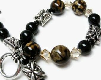 Agate Bracelet semi precious gemstone bracelet black bead bracelets womens jewelry gift for her Birthday agate jewelry beaded bracelet brown