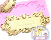 Large Decorative Plaque Tag Scroll Silicone Mold 467L Push Mold 467L Gum paste Foundant Chocolate Candy Decorated Cake Art BEST QUALITY