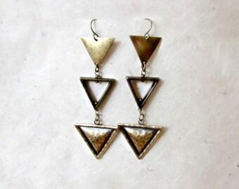 Brass Triangle Earrings. Bronze Arrow Earrings. Long Metal Geometric Earrings. Hammered Textured Dangle Earrings. Tribal Arrow Earrings.