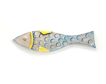 Fish decor, Wall hanging poterry fish, Ceramic fish, Blue Fish