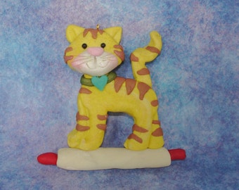 Gray Tiger Kitty Cat Rolling Pin Christmas Ornament Cookie Baker Polymer Clay Milestone Cake Topper Pet Sitter Pastry Chef Bakery Pie 1st