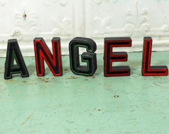 Vintage Alphabet Block Letters Angel Set of Five A N G E L