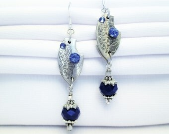 STEAMPUNK Earrings Vintage WALTHAM Pocket Watch Part SILVER Blue Guilloche Engrave Etch Sign Stripe 925 Sterling Silver by DKsSteampunk
