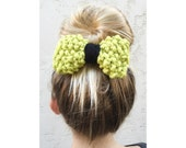 SALE - Knit Bow, Hand Knitted Bow in Chartreuse with black center, chunky knitted hair accessories