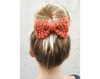Knit Bow, Hand Knitted Bow in Pumpkin Orange, knitted hair accessories