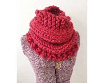 KNIT COWL INFINITY - Hand Knitted Neckwarmer Cowl Circle Infinity Scarf, extra chunky knit subdued red cowl, cowl in claret