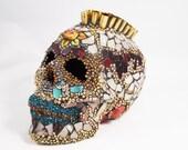 Wolf Spirit Sugar Skull Lamp, Mexican Day of the Dead Skull, Gun Shell Casing Skull, Mosaic Sugar Skull, Home Decor, Mohawk Skull
