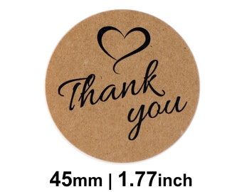 Thank you Stickers / Labels - Kraft Round 45mm Circle (1.77 inches) - Pack of 24