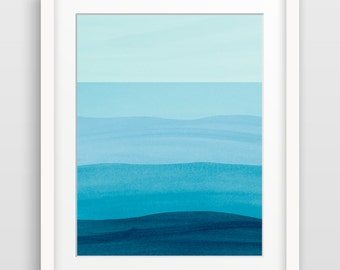 Ocean Art Print Beach Decor Abstract Watercolor Art Bedroom Wall Decor Teal