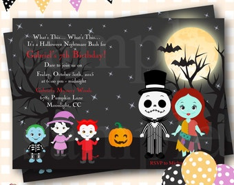 Nightmare Before Christmas Birthday Invitation, Jack Skellington Invitation, Halloween Birthday Invitations Jack and Sally Invitations - H45