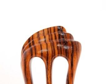 RESERVED, Wooden hair fork, Hair comb, 3 prong, Hair sticks, Wood, Zebrawood, Zebrano, Hairpin, Handmade, Hair accessory, WoodArtJewelry