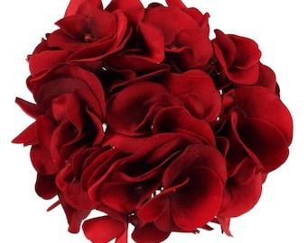 Red Hydrangea Flower Head Large 6 Inch Diameter Artificial Hydrangea Flower Head