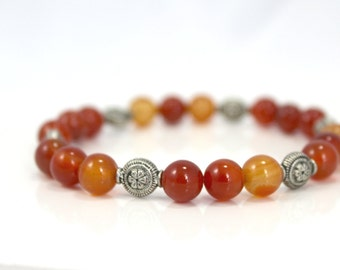 Carnelian Stone Bead Stretch Bracelet with Silver Plated Accent Beads / Gifts under 25