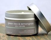 Green Tea & Lemongrass Soy Candle Tin 4 oz. - green tea candle - food candle - lemongrass candle - citrus candle - spa candle