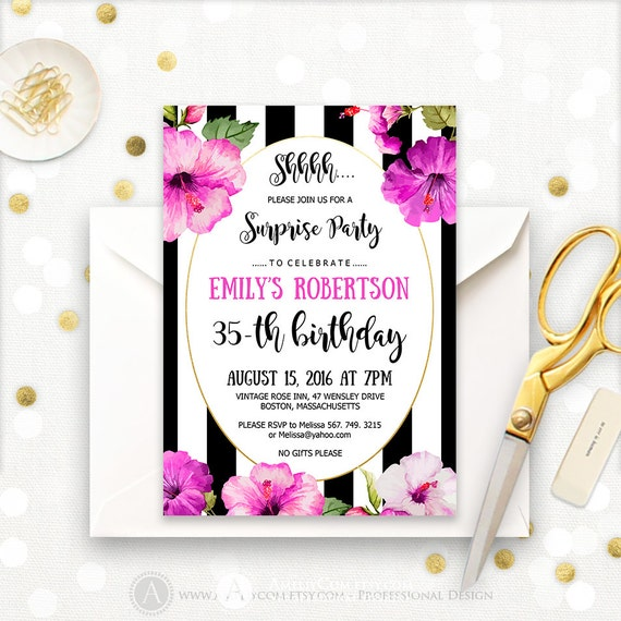 Surprise Birthday Invitation Printable Tropical Birthday Party