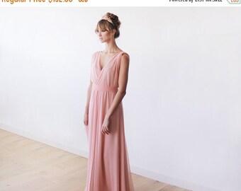 Peach pink maxi sheer chiffon dress, Pink dress with short sleeves