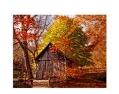 Autumn Serenity, Autumn Photo, Fall Print, Old Barn Photo, Wooden Fence, Colorful Print, Barn Print, Home Decor, Wall Art