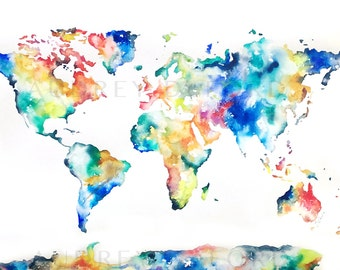 NEW! 24x36 Watercolor World Map Print, Large World Map, Watercolor World Painting