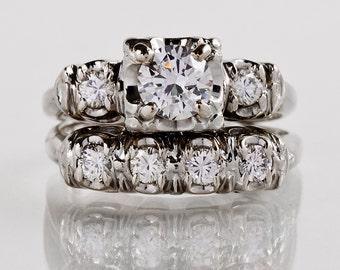 Vintage 1940s 14K White Gold Diamond Wedding Set