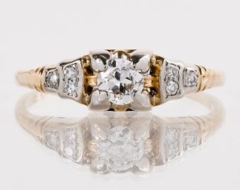 Antique Engagement Ring - Antique 1930s 14k and 18k Yellow and White Gold European Cut Diamond Engagement Ring