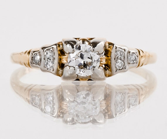 Antique Engagement Ring Antique 1930s 14k and 18k Yellow and