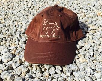 "Dressage Hat, Horse Baseball Cap, ""Begin the Dance"" Equine Design by Sandra Beaulieu, Horse Gift, Equestrian Style, Horse Hat, BROWN"