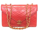 Reserved for Alex. 80's vintage CHANEL lipstick red V stitch, chevron stitch lambskin classic 2.55 shoulder bag with golden CC.