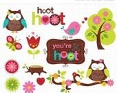 ON SALE - Owls in Spring Clip Art / Digital Clipart - Instant Download