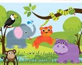 ON SALE - Jungle Animals - Savannah Zoo Clip Art / Digital Clipart - Instant Download