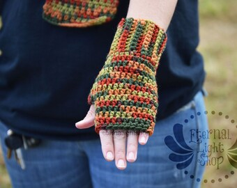 Fall / Autumn Fingerless Crochet Gloves