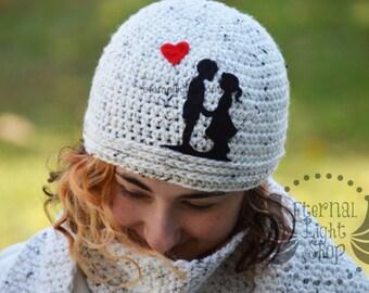 "ALL SIZES ""Love Silhouette"" Crochet Beanie"