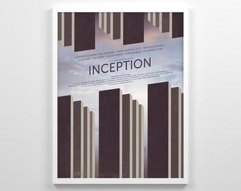 Inception ~ Minimal Movie Poster, Retro Minimalist Art Print by Christopher Conner