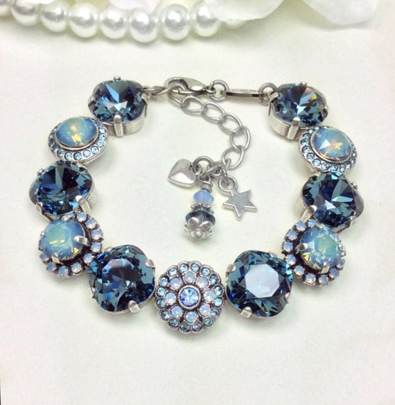 "Swarovski Crystal ""Rosetta in Denim"" - Denim /Starshine Opal/Air Blue Opal- 12mm/ 8mm Embellished  Wrist Candy Bracelet - FREE SHIPPING"