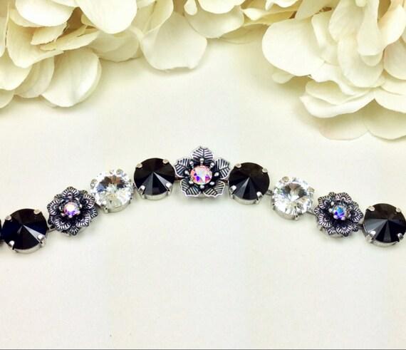 Swarovski Crystal Bracelet - 12MM Radiant Jet and Shimmering Crystal With Beautiful Flowers ! Designer Inspired - SALE 40. -  FREE SHIPPING