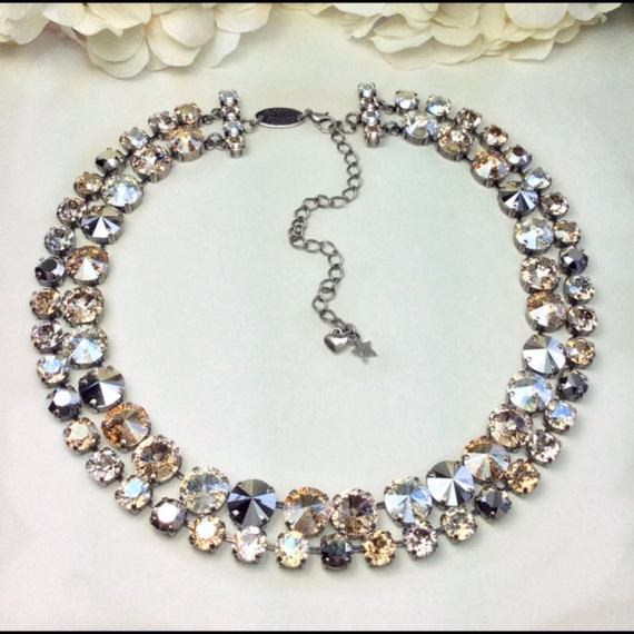 "Swarovski Crystal 12MM & 8.5mm DOUBLE Row Necklace - Designer Inspired -"" Blonde Neutrals "" - Soft and Silvery, Champagne - FREE SHIPPING"