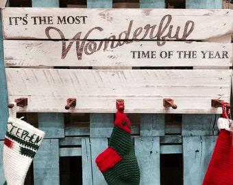 The Most Wonderful Rustic Christmas Stocking Hanger Hat Coat Rack
