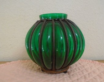 Antique French Made Forest Green Glass With Rod Iron / Planter!