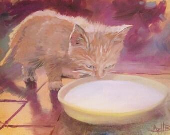 Kitten with Milk Painting