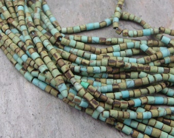 Tiny 2x2mm Earthy Turquoise Heishi Beads - Full strand