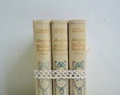 Reserved for S .... Set 64: Antique Set of 3 Nelson Books, Gold Lettering, Cream color, Ornate Cover, Wedding Decoration. Early 1900s.