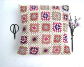 Handmade crochet pillow, crochet cuschion, patchwork, granny square pillow ready to ship, cushion cover, Vintage style, pink, Chabby chick