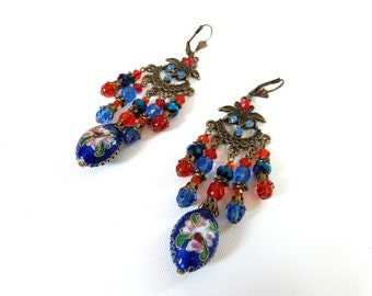 Bohemian and gypsy earrings,antic bronze,enameled beads ,blue deep,orange