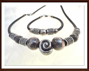 Sterling Silver Bead Necklace Bracelet Set - Signed 925 - Black Rubber Retro MOD Era Abstract Jewelry - Demi-6265a-070216050