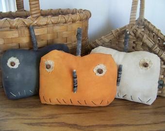 Set Of 3 Primitive Pumpkin Bowl Fillers Rustic Fall Decor