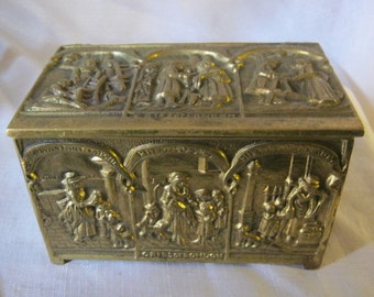 "Vintage Tobacco Box Made by Peerage Of England solid brass box with wood liner featuring ""Cries of London"" scenes."