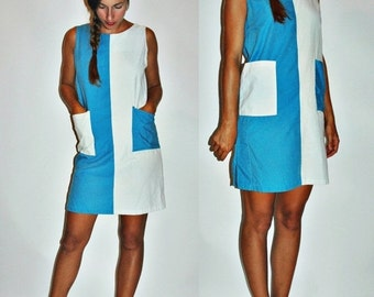 SHOP IS AWAY 1960s Inverted Blue White Two Tone Mod Shift Dress