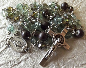 Green and Brown Crystal Catholic Rosary