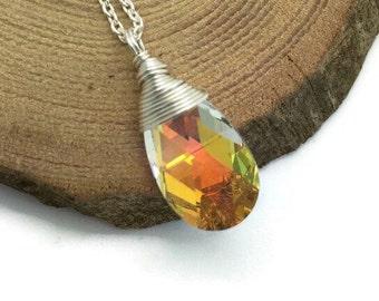 Swarovski baroque pendant - Sterling silver chain with swarovski - Swarovski crystal AB