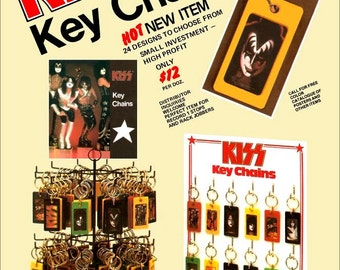 "KISS 1978 ""KISS Key Chains"" Advertisement Stand-Up Display - Gift Collectibles Collectors Retro Memorabilia Rock Band Vintage Magazine Ad"